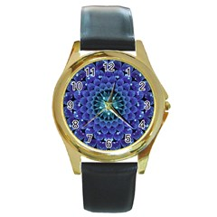 Accordant Electric Blue Fractal Flower Mandala Round Gold Metal Watch by jayaprime