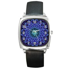 Accordant Electric Blue Fractal Flower Mandala Square Metal Watch by beautifulfractals
