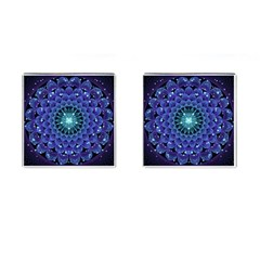 Accordant Electric Blue Fractal Flower Mandala Cufflinks (square) by beautifulfractals