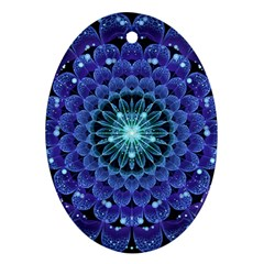 Accordant Electric Blue Fractal Flower Mandala Oval Ornament (two Sides) by jayaprime