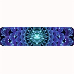Accordant Electric Blue Fractal Flower Mandala Large Bar Mats by jayaprime