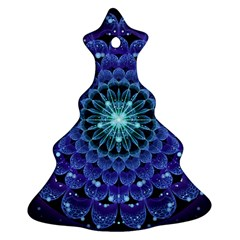 Accordant Electric Blue Fractal Flower Mandala Christmas Tree Ornament (two Sides) by beautifulfractals
