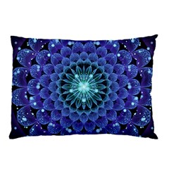 Accordant Electric Blue Fractal Flower Mandala Pillow Case (two Sides) by jayaprime