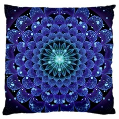 Accordant Electric Blue Fractal Flower Mandala Large Cushion Case (one Side) by jayaprime