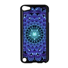 Accordant Electric Blue Fractal Flower Mandala Apple Ipod Touch 5 Case (black) by beautifulfractals