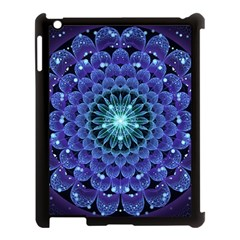Accordant Electric Blue Fractal Flower Mandala Apple Ipad 3/4 Case (black) by beautifulfractals