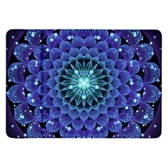 Accordant Electric Blue Fractal Flower Mandala Samsung Galaxy Tab 8 9  P7300 Flip Case by jayaprime