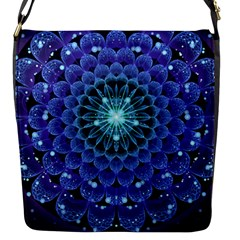 Accordant Electric Blue Fractal Flower Mandala Flap Messenger Bag (s) by jayaprime