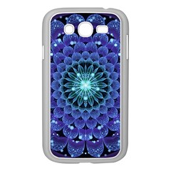 Accordant Electric Blue Fractal Flower Mandala Samsung Galaxy Grand Duos I9082 Case (white) by jayaprime