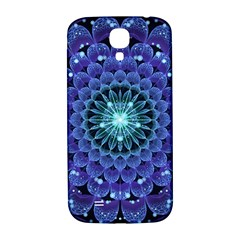 Accordant Electric Blue Fractal Flower Mandala Samsung Galaxy S4 I9500/i9505  Hardshell Back Case by jayaprime
