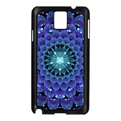 Accordant Electric Blue Fractal Flower Mandala Samsung Galaxy Note 3 N9005 Case (black) by jayaprime