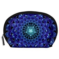 Accordant Electric Blue Fractal Flower Mandala Accessory Pouches (large)  by jayaprime