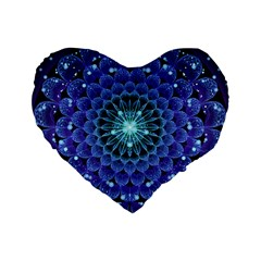 Accordant Electric Blue Fractal Flower Mandala Standard 16  Premium Flano Heart Shape Cushions by beautifulfractals