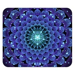 Accordant Electric Blue Fractal Flower Mandala Double Sided Flano Blanket (small)  by beautifulfractals