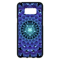 Accordant Electric Blue Fractal Flower Mandala Samsung Galaxy S8 Plus Black Seamless Case by jayaprime