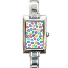 Polka Dot Easter Eggs Rectangle Italian Charm Watch