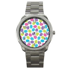 Polka Dot Easter Eggs Sport Metal Watch by allthingseveryone
