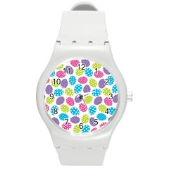 Polka Dot Easter Eggs Round Plastic Sport Watch (m) by allthingseveryone