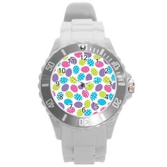 Polka Dot Easter Eggs Round Plastic Sport Watch (l) by allthingseveryone