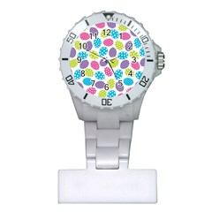 Polka Dot Easter Eggs Plastic Nurses Watch by allthingseveryone
