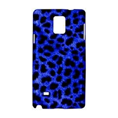 Blue Cheetah Print  Samsung Galaxy Note 4 Hardshell Case by allthingseveryone