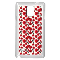 Red Flowers Samsung Galaxy Note 4 Case (white) by AllThingsEveryone