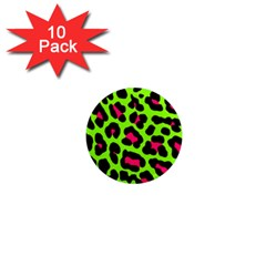 Neon Green Leopard Print 1  Mini Magnet (10 Pack)  by allthingseveryone