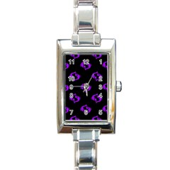 Purple Pisces On Black Background Rectangle Italian Charm Watch