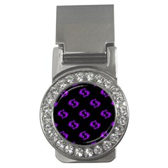 Purple Pisces On Black Background Money Clips (cz)  by AllThingsEveryone