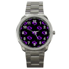 Purple Pisces On Black Background Sport Metal Watch by AllThingsEveryone