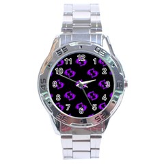 Purple Pisces On Black Background Stainless Steel Analogue Watch by AllThingsEveryone