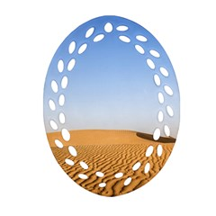 Desert Dunes With Blue Sky Oval Filigree Ornament (two Sides) by Ucco