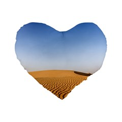 Desert Dunes With Blue Sky Standard 16  Premium Flano Heart Shape Cushions by Ucco