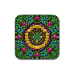 Bohemian Chic In Fantasy Style Rubber Coaster (square)  by pepitasart