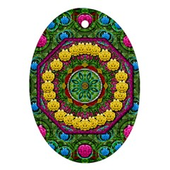 Bohemian Chic In Fantasy Style Oval Ornament (two Sides) by pepitasart