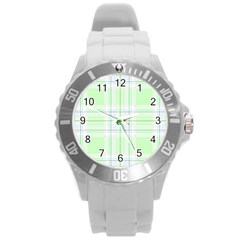 Green Pastel Plaid Round Plastic Sport Watch (l) by allthingseveryone