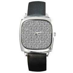 Hand Drawing Tribal Black White Square Metal Watch by Cveti