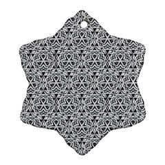 Hand Drawing Tribal Black White Snowflake Ornament (two Sides) by Cveti