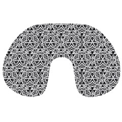 Hand Drawing Tribal Black White Travel Neck Pillows by Cveti