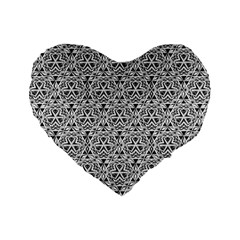 Hand Drawing Tribal Black White Standard 16  Premium Flano Heart Shape Cushions by Cveti