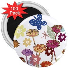 Flowers Butterflies Dragonflies 3  Magnets (100 Pack) by Celenk
