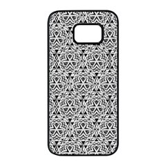 Hand Drawing Tribal Black White Samsung Galaxy S7 Edge Black Seamless Case by Cveti