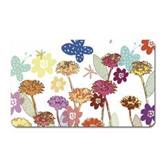 Flowers Butterflies Dragonflies Magnet (rectangular) by Celenk