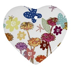 Flowers Butterflies Dragonflies Heart Ornament (two Sides) by Celenk