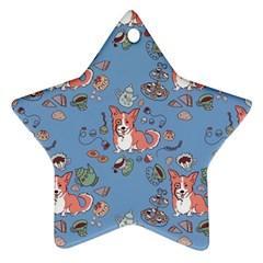 Dog Corgi Pattern Star Ornament (two Sides) by Celenk