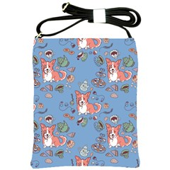 Dog Corgi Pattern Shoulder Sling Bags by Celenk