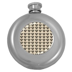 Puppy Dog Pug Pup Graphic Round Hip Flask (5 Oz) by Celenk