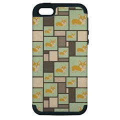 Quirky Corgi Kraft Present Gift Wrap Wrapping Paper Apple Iphone 5 Hardshell Case (pc+silicone) by Celenk