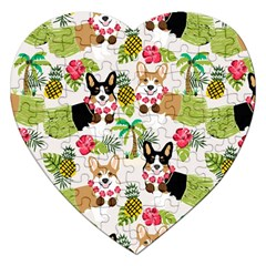 Hula Corgis Fabric Jigsaw Puzzle (heart) by Celenk