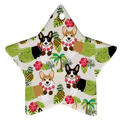 Hula Corgis Fabric Star Ornament (two Sides)